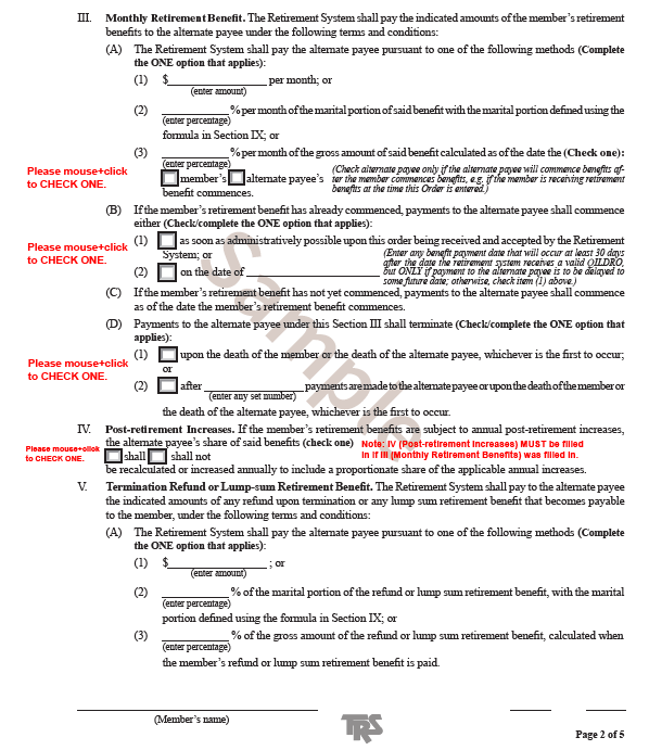 Form Samples   Teachers' Retirement System of the State of Illinois